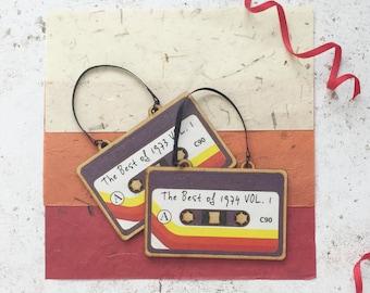 1970s Cassette Tape Decor, customisable mix tape wood decoration, retro music gift music memorabilia