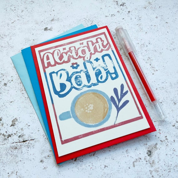 Alright Bab greetings card - Brummie miss you card lino cut lockdown card - Birmingham greeting eco friendly tea card