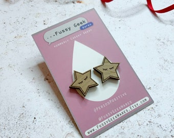 Wooden Star Earrings, Video Game Gift Sleepin Star, Retro Gaming Walnut Earrings with Sterling Silver posts