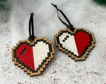 8 bit heart decorations, 2 half life pixel hearts retro gaming programmer gift, hand painted geeky home decor