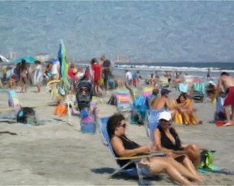 Art print of a summer scene on a crowded beach  SE-24