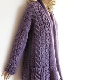 Women's Cable Knit Sweater, Knitted Alpaca and Wool Cardigan, Many colors available