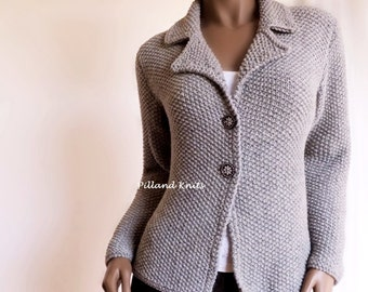 9d385dc4bf Women s Hand knit Jacket Alpaca Wool sweater Hand Knit Cardigan