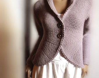 98369a859 Womens Hand Knit Sweater Jacket Purple Grey Wool Sweater Cardigan Many  Colors Available