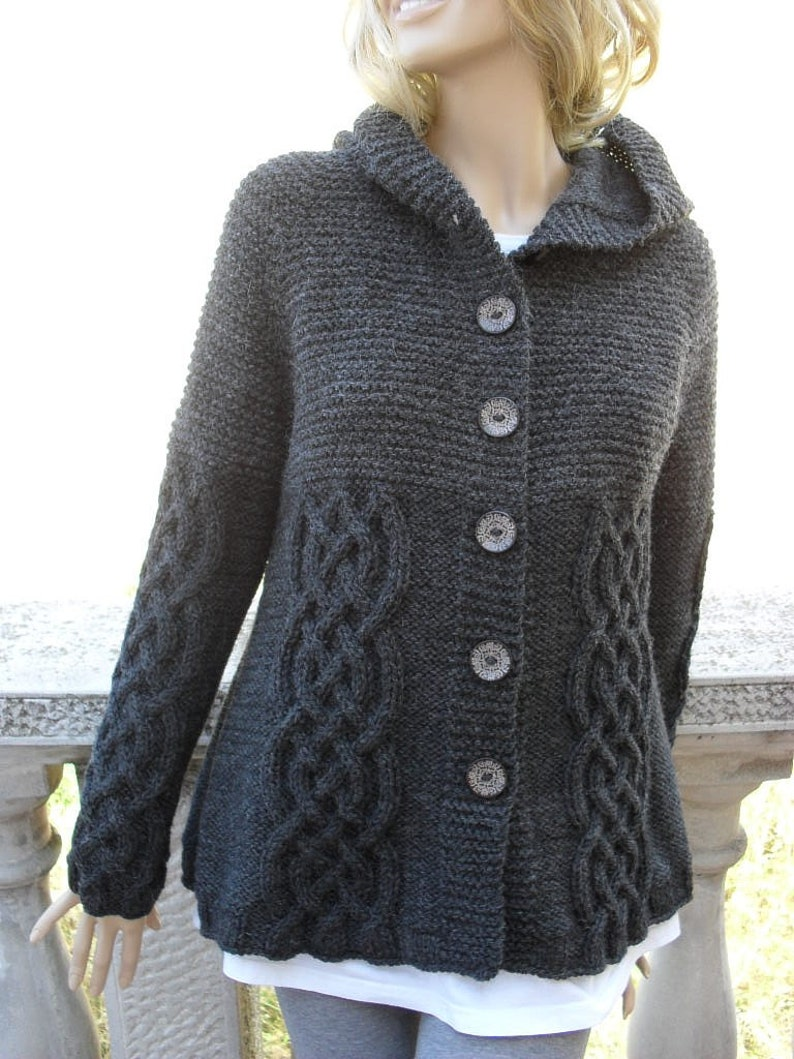 0a7115f1f Knit Sweater Womens Cable Knit Jacket Cardigan Dark Grey Hooded Coat