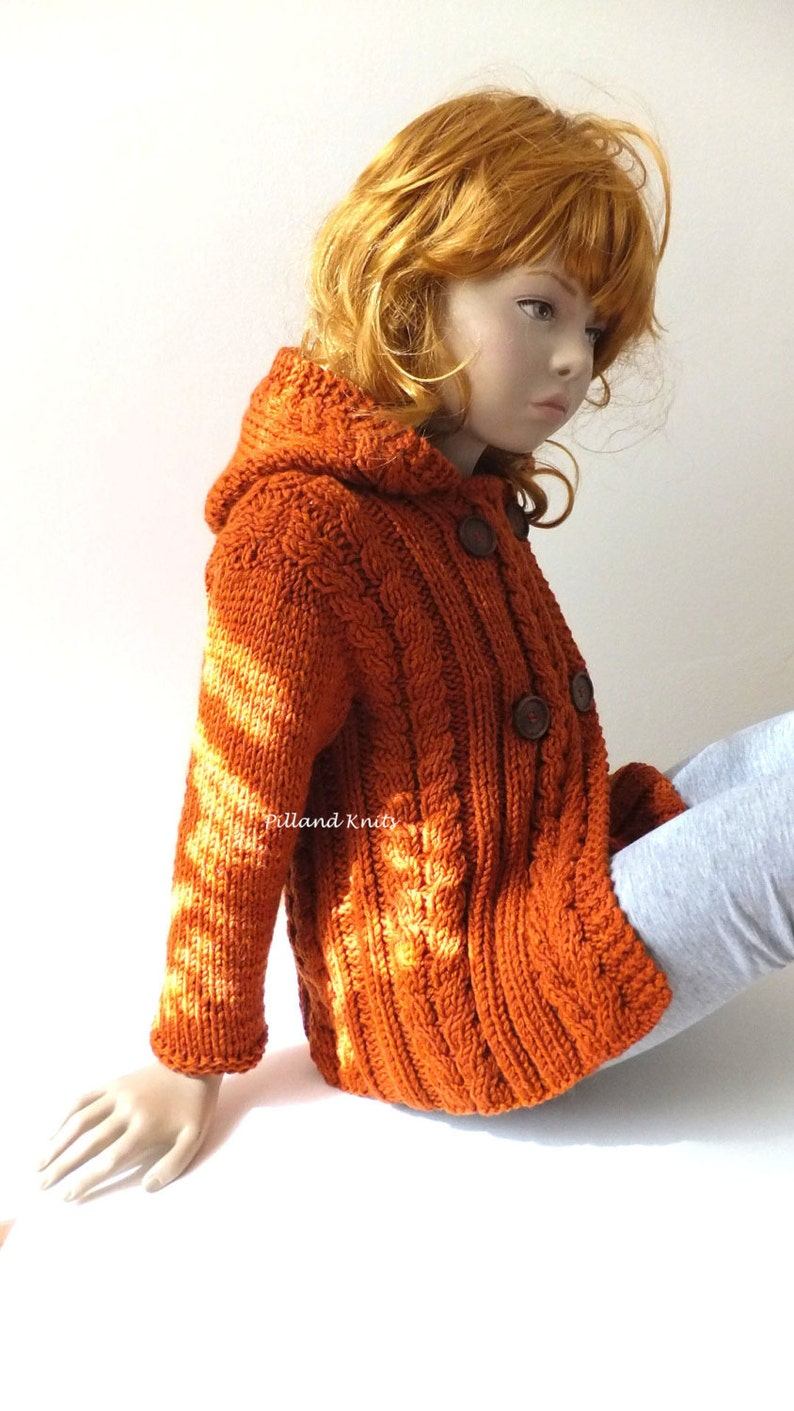 Childrens Toddlers Knit Hoodie Many Colors Available Children/'s Coat Cable Knit Jacket