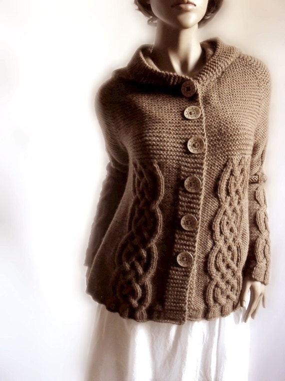 Available Colors Cardigan Knit Coat Womens Many Knit Chocolate Brown Sweater Hooded Hand Cable xPX16qw7