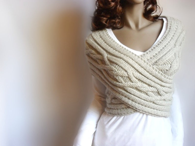 Hand Knit Vest Cable Knit Womens Sweater Knit Cowl Many image 0