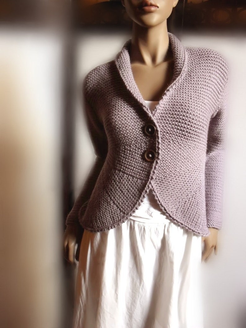 53ceac520a681f Womens Hand Knit Sweater Jacket Purple Grey Wool Sweater