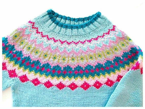 Fire Isle Knit Multicolor Round Joke Sweater Handmade Pullover Pilland Knits Natural Fiber Sweater Purple Knit Sweater Custom Color Knitwear