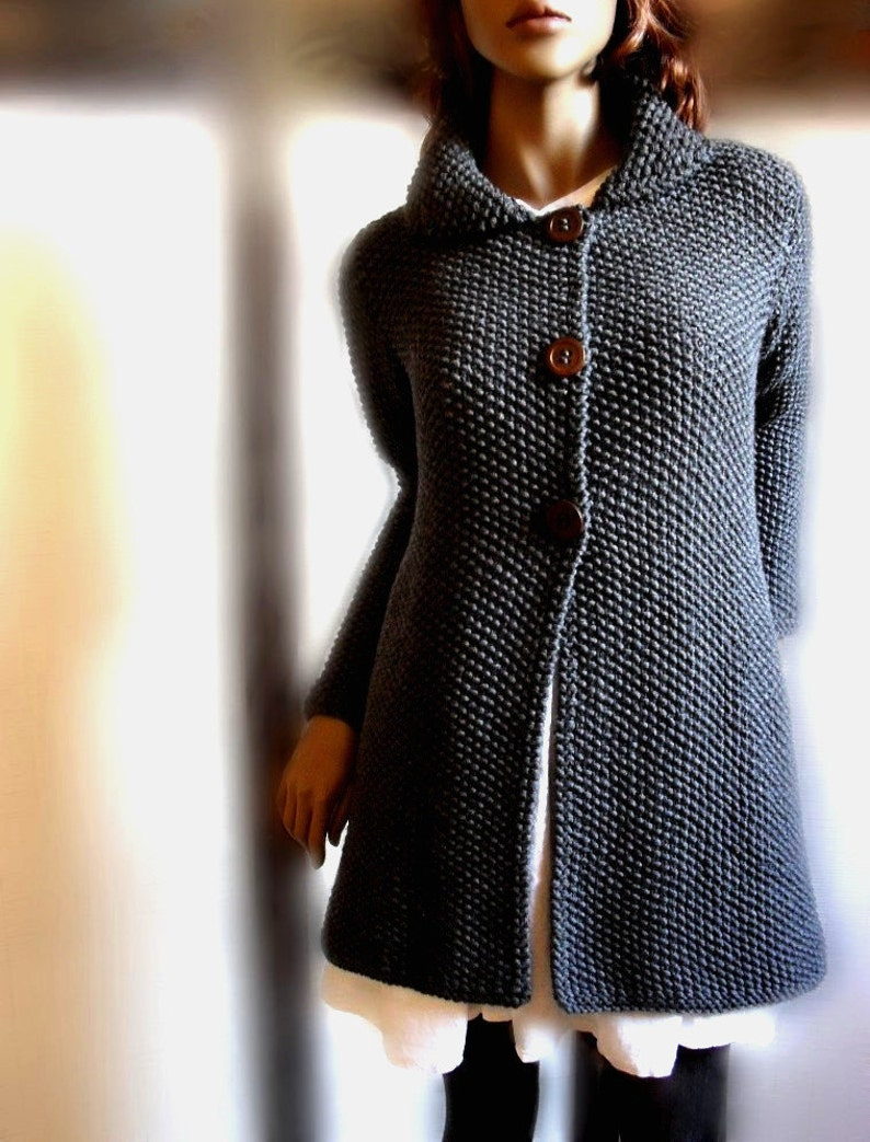 5ce88b9971c0 Women s hand knit sweater Knit coat Merino wool cardigan