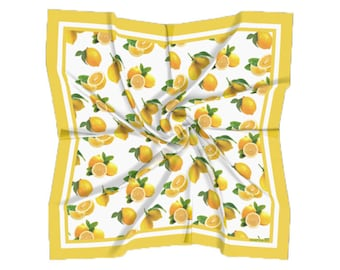 Lemon Scarf Satin Square Scarf