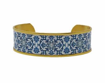 Mediterranean Royal Blue Tile Cuff Bracelet