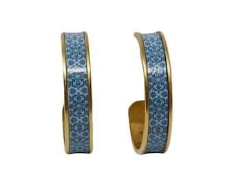 Women's Preppy Royal Tile Hoop Earrings Tile Earrings Tile Jewelry Tile Patterned Earring Tile Patterned Jewelry Preppy Earrings
