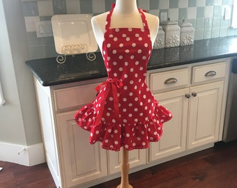 Retro Apron in Cadillac Red - Fun for Halloween - Thanksgiving - Christmas- Josie Women's Apron - Personalized Apron ~ 4RetroSisters