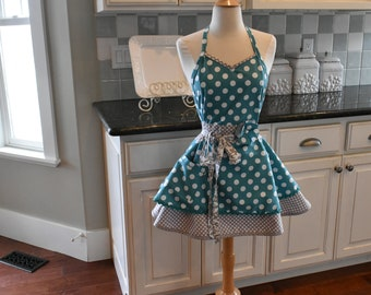 Apple of My Eye Retro Apron ~ Women's Apron Cute for Bridal or Birthday Gift ~ Personalized Women's Aprons by 4RetroSisters  - Pin Up Apron