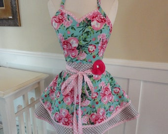Pink Poppies  - Cute Retro Apron for Bridal Gifts ~ 4RetroSisters Womens Apron