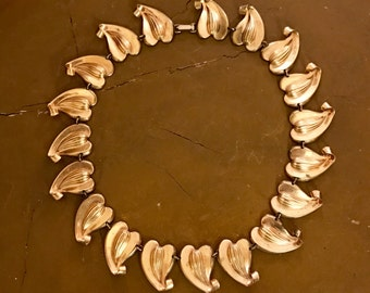 RARE 1940s Parisina Choker Necklace Early Marcel Boucher Design High End Luxe Gold Wash