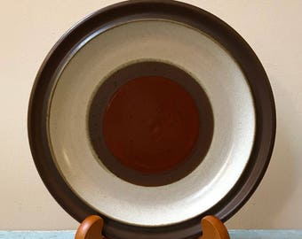 70s Set of 6 Denby Potters Wheel Dinner Plates England Midcentury Modern Rust Circles Brown Border & 2 Large Denby Potters Wheel Rust Red Dinner Plates 10.5