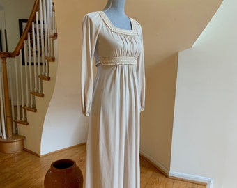 6d378d4cfe53 70s Folkloric Prairie Style Dress Boho Hippie Bridesmaid Retro Prom Banded  Lace Knit Maxi Empire Waist Elasticized Sleeves Ties in Back