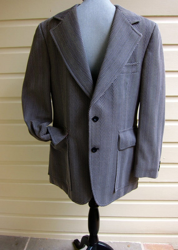 60s Webster Men's Sport Coat Polyester Herringbone
