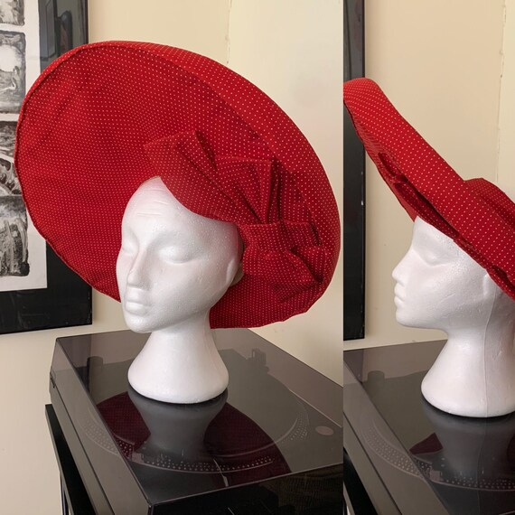 Fab 40s Open Crown Halo Hat Red & White Dotted Swi