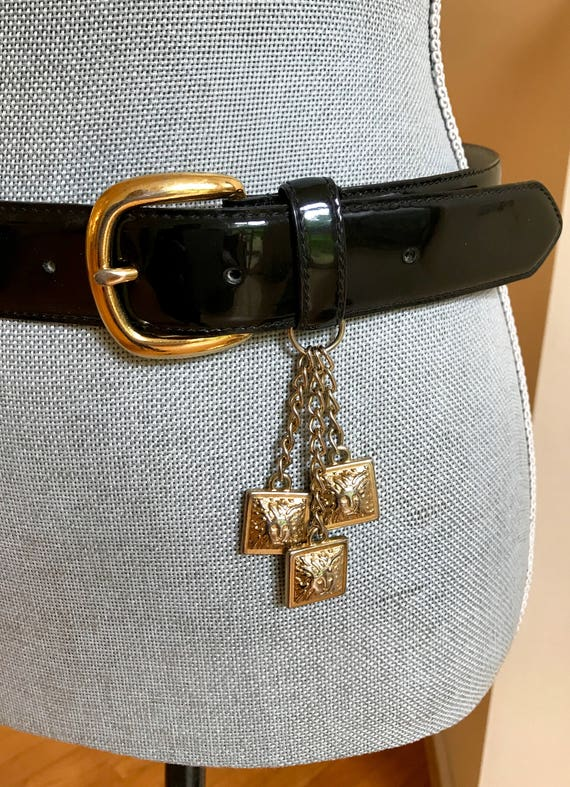 80 s charmes Anne Klein Couture ceinture en cuir verni noir   Etsy eb538effd35