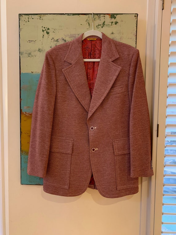60s Webster Men's Sport Coat Polyester Tweed Patch