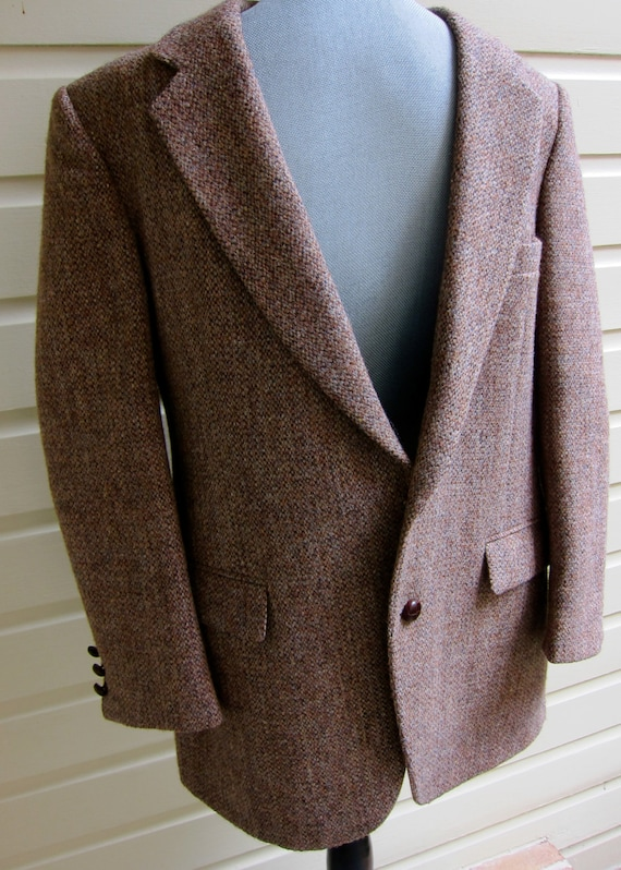 80s Harris Tweed Sport Coat Genuine Handwoven 100% Pure Scottish Wool Flap Pockets Leather Buttons Heirloom to Wear