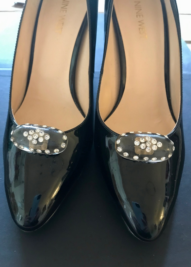 30s Old Hollywood Shoe Clips Oval Lucite /& Crystals Gorgeous Dress Up Evening Glam Jewelry For Your Shoes