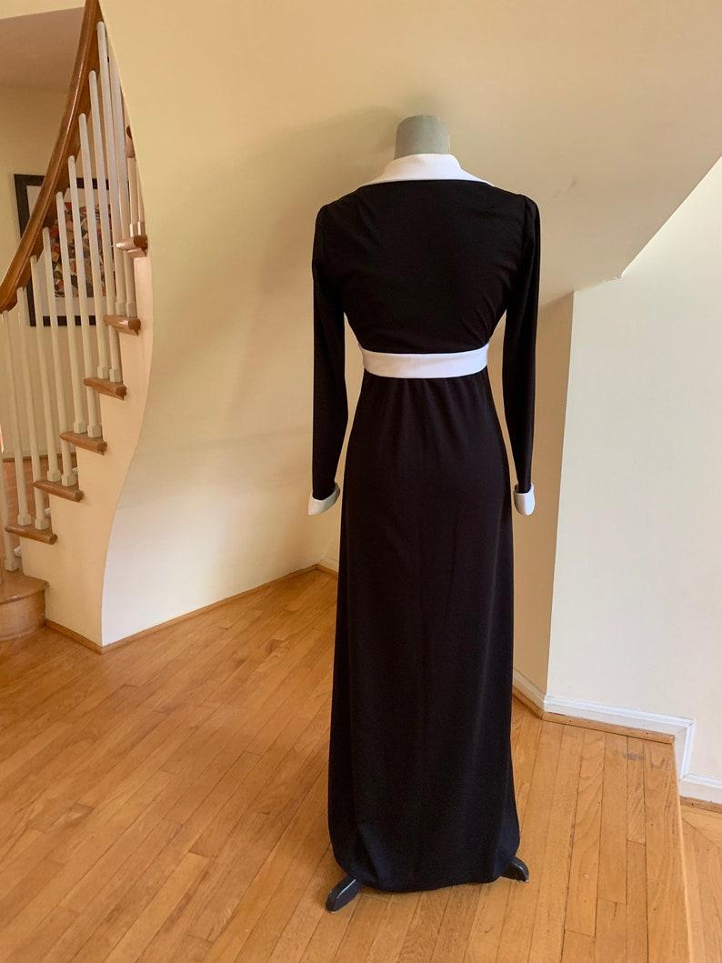 60s Mid Mod Black /& White Empire Waist Maxi Dress Collar Cuffs and Bow Detail Jackie Kennedy Style Mid Mod Hostess Chic Wedding Gala Fashion