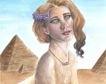 Sphinx Strength - fantasy fairy gothic art print by Deanna Bach