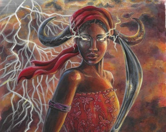 """ORIGINAL - """"Oya - Page of Swords"""" 7.75x11.75"""" acrylic painting on paper by fantasy artist Deanna Bach"""