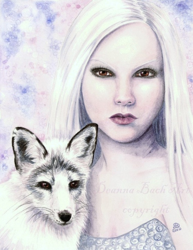 Kindreds  White Fox  fairy fantasy gothic art print by image 0