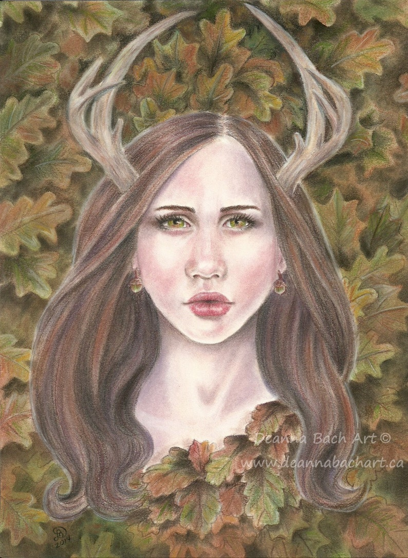 Guardian of the Oak  fantasy fairy gothic art by Deanna Bach image 0