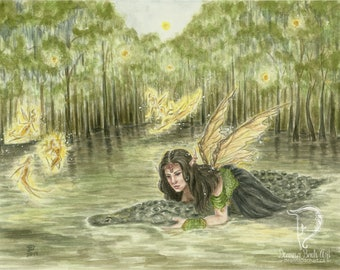 ORIGINAL - watercolour painting In The Swamp by fantasy fairy gothic artist Deanna Bach
