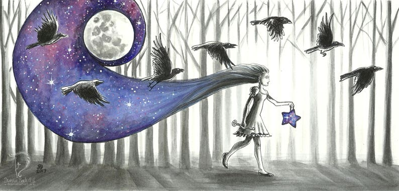 The 7 Ravens by Moonlight  fantasy fairy gothic art print by image 0