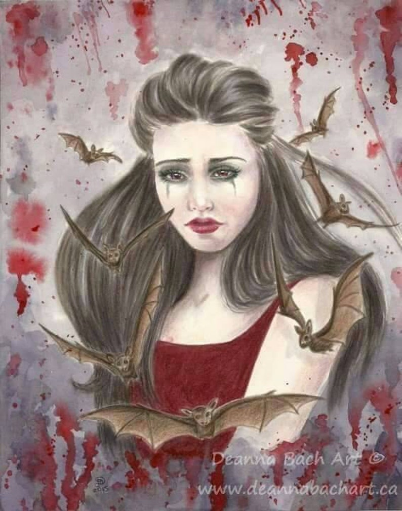 Cry for the Night fantasy fairy gothic art by Deanna Bach Art image 0