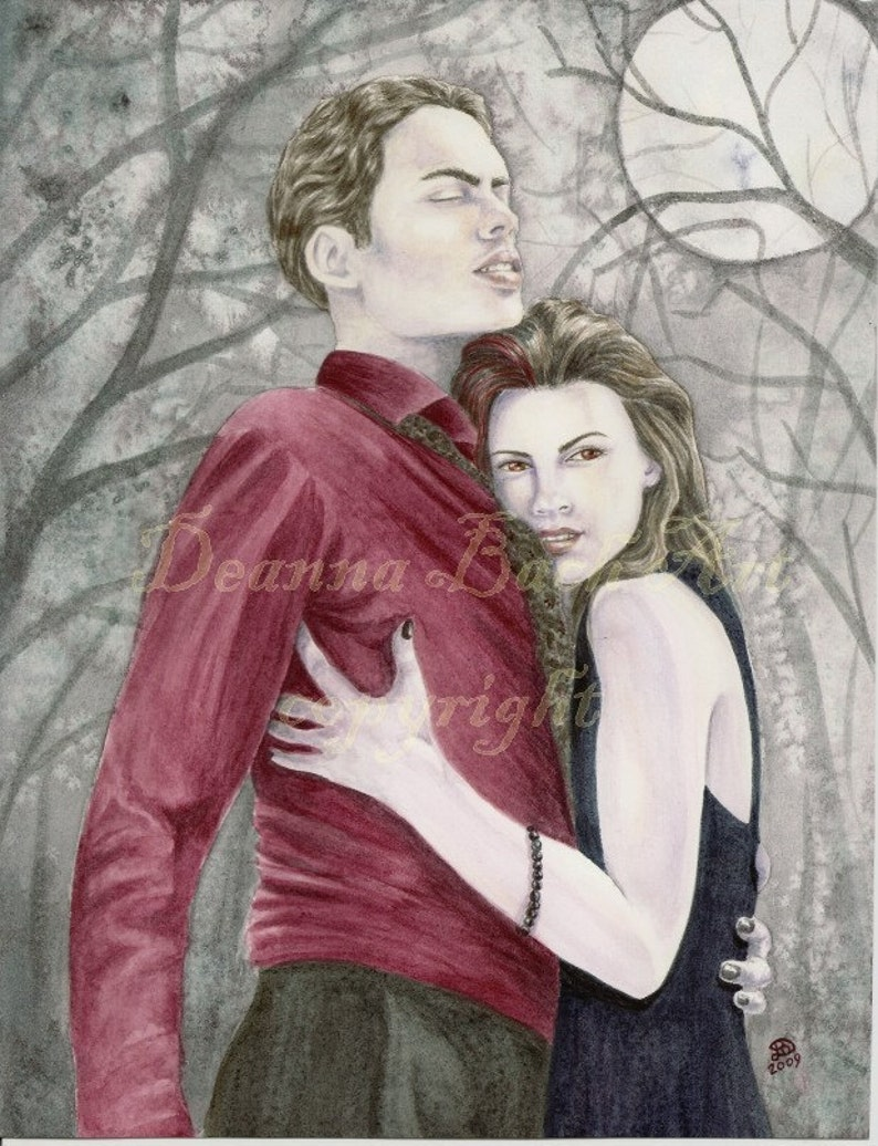 Vampire Lovers  fairy fantasy gothic art print by Deanna Bach image 0