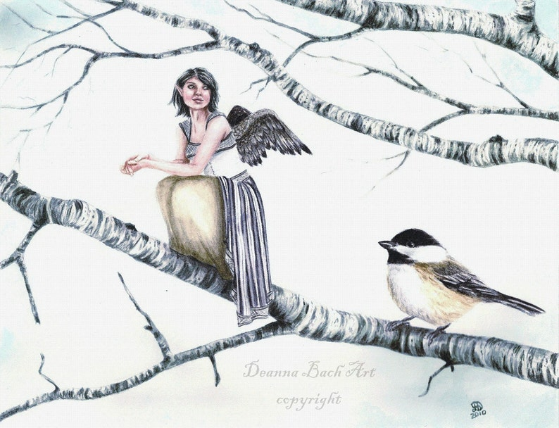 Kindreds  Chickadee  fairy fantasy gothic art print by image 0