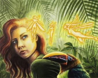 "ORIGINAL - ""Encounter"" original acrylic 8.5 x 11"" painting by fantasy artist Deanna Bach"