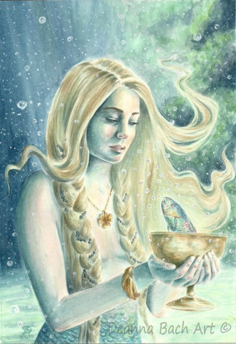 Page of Cups  fantasy fairy gothic art by Deanna Bach for 78 image 0