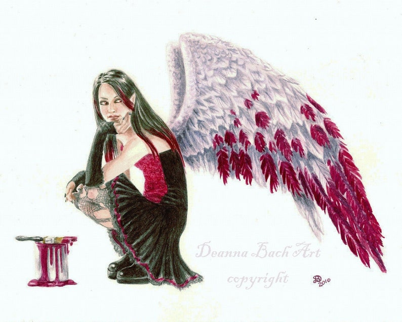 Crimson Wings painting the feathers red  fairy fantasy image 0