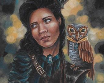 "ORIGINAL - ""The Night Watch"" 8.5x10.5"" acrylic painting by fantasy artist Deanna Bach"