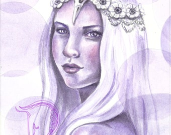 ORIGINAL - Violet Mist watercolour painting by fantasy artist Deanna Bach