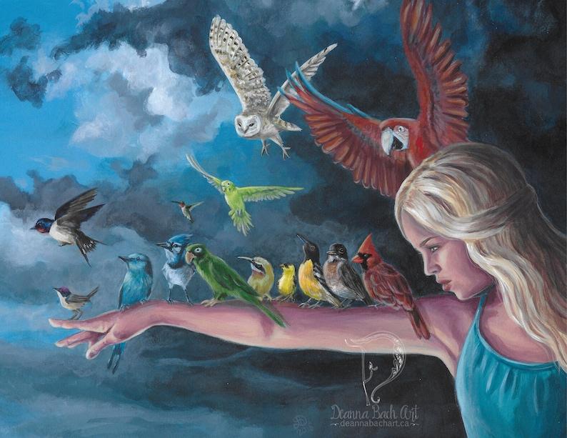 Birds of a Feather  fantasy art print by Deanna Bach Art image 0