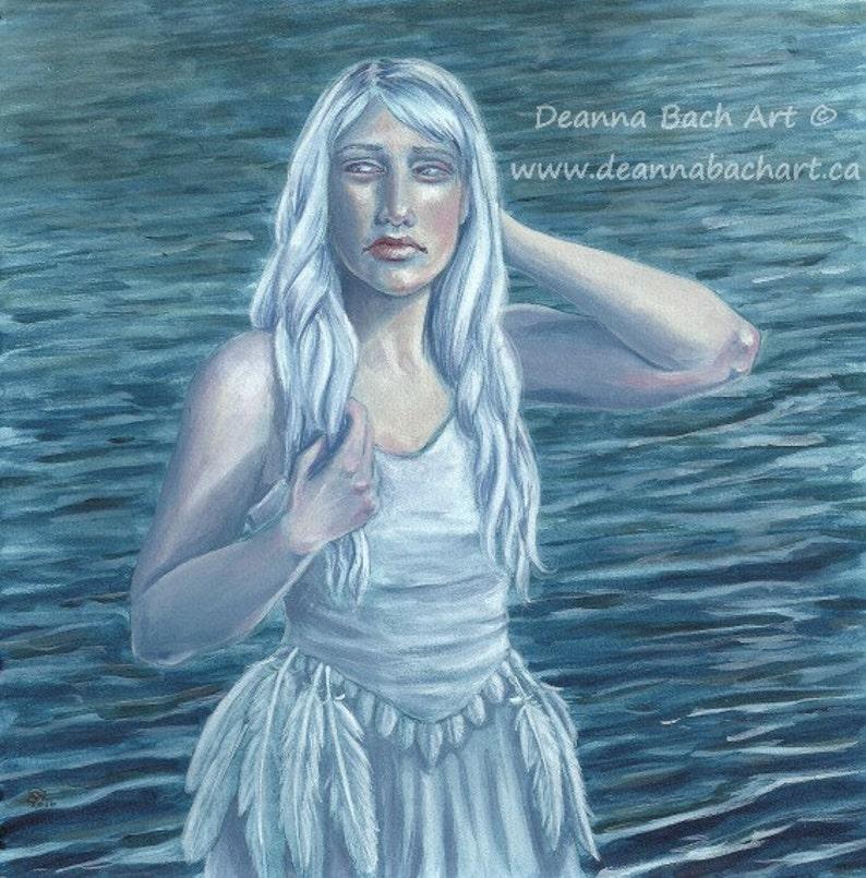 Swan Lake  fantasy fairy gothic art print by Deanna Bach image 1
