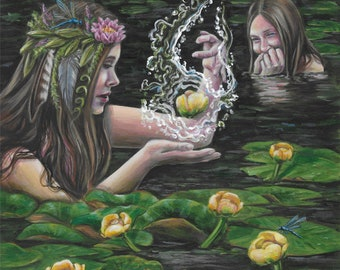 6 of Water/Cups - for 78 Tarot Elemental fantasy fairy gothic art print by Deanna Bach