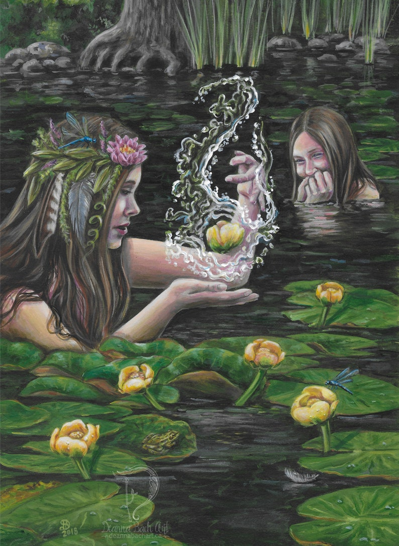 6 of Water/Cups  for 78 Tarot Elemental fantasy fairy gothic image 0