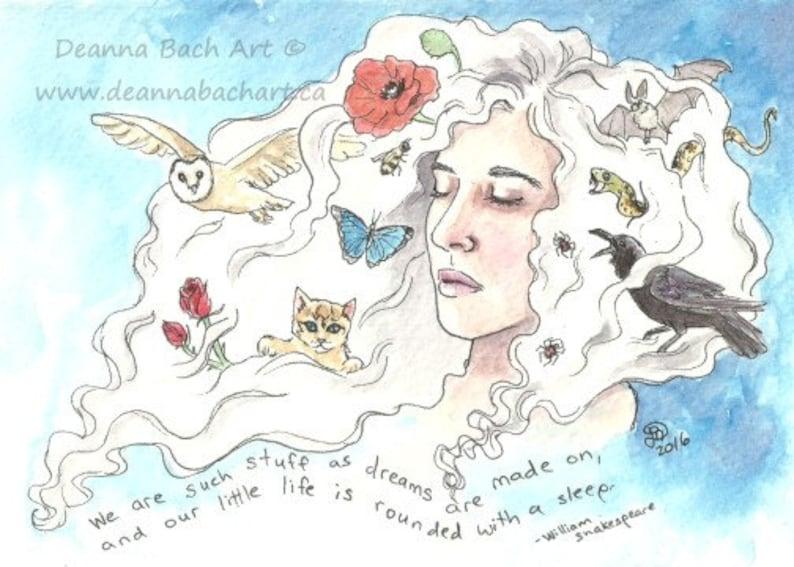 Wide Asleep  fantasy fairy gothic art print by Deanna Bach image 1